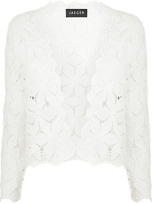 Crochet Bolero, Ivory - pattern: plain; style: cropped; collar: shawl/waterfall; length: cropped; predominant colour: ivory; occasions: casual, evening, occasion, holiday; fit: straight cut (boxy); fibres: cotton - 100%; sleeve length: 3/4 length; sleeve style: standard; texture group: knits/crochet; collar break: low/open; pattern type: knitted - other
