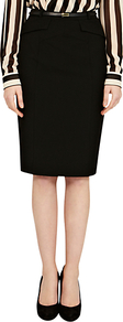 Celeste Longline Pencil Skirt, Black - pattern: plain; style: pencil; fit: tailored/fitted; waist: high rise; waist detail: belted waist/tie at waist/drawstring; predominant colour: black; occasions: evening, work; length: on the knee; fibres: polyester/polyamide - stretch; texture group: cotton feel fabrics; pattern type: fabric
