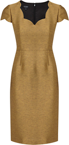 Agnes Dress, Metallic Gold - style: shift; neckline: v-neck; sleeve style: capped; fit: tailored/fitted; pattern: plain; waist detail: fitted waist; predominant colour: gold; occasions: evening, work, occasion; length: just above the knee; fibres: polyester/polyamide - mix; sleeve length: short sleeve; texture group: ornate wovens; trends: glamorous day shifts, metallics; pattern type: fabric