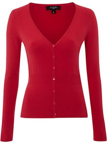 Roux Cardigan, Sorbet - neckline: low v-neck; pattern: plain; predominant colour: true red; occasions: casual, work; length: standard; style: standard; fit: slim fit; sleeve length: long sleeve; sleeve style: standard; texture group: knits/crochet; pattern type: knitted - fine stitch; fibres: viscose/rayon - mix