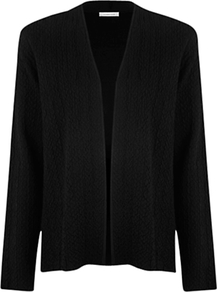 Textured Cardigan, Black - pattern: plain; neckline: collarless open; predominant colour: black; occasions: casual, work; length: standard; style: standard; fibres: viscose/rayon - stretch; fit: standard fit; sleeve length: long sleeve; sleeve style: standard; texture group: knits/crochet; pattern type: knitted - fine stitch
