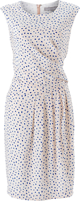 Oriella Dress, Multi - style: shift; fit: tailored/fitted; sleeve style: sleeveless; waist detail: fitted waist; pattern: polka dot; bust detail: ruching/gathering/draping/layers/pintuck pleats at bust; predominant colour: white; occasions: casual, evening; length: just above the knee; fibres: silk - 100%; neckline: crew; sleeve length: sleeveless; texture group: silky - light; pattern type: fabric; pattern size: small & busy