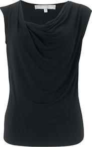 Ariela Top, Black - neckline: cowl/draped neck; pattern: plain; sleeve style: sleeveless; bust detail: ruching/gathering/draping/layers/pintuck pleats at bust; predominant colour: black; occasions: casual, evening, work; length: standard; style: top; fibres: polyester/polyamide - stretch; fit: body skimming; sleeve length: sleeveless; pattern type: fabric; texture group: jersey - stretchy/drapey