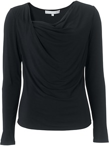 Shelley Top, Black - neckline: cowl/draped neck; pattern: plain; bust detail: ruching/gathering/draping/layers/pintuck pleats at bust; predominant colour: black; occasions: casual, evening; length: standard; style: top; fibres: polyester/polyamide - stretch; fit: body skimming; sleeve length: long sleeve; sleeve style: standard; pattern type: fabric; texture group: jersey - stretchy/drapey