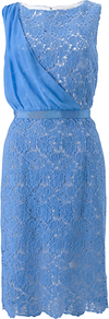 Aveline Dress, Blue - style: shift; fit: tailored/fitted; pattern: plain; sleeve style: sleeveless; waist detail: fitted waist; bust detail: ruching/gathering/draping/layers/pintuck pleats at bust; predominant colour: pale blue; occasions: evening, occasion; length: just above the knee; fibres: cotton - 100%; neckline: crew; sleeve length: sleeveless; texture group: lace; trends: glamorous day shifts; pattern type: fabric; embellishment: lace