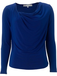 Shelley Top, Blue - neckline: cowl/draped neck; pattern: plain; predominant colour: royal blue; occasions: evening, work; length: standard; style: top; fibres: cotton - stretch; fit: body skimming; sleeve length: long sleeve; sleeve style: standard; pattern type: fabric; texture group: jersey - stretchy/drapey