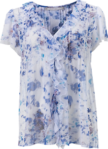 Jemima Top, Multi - neckline: v-neck; predominant colour: white; secondary colour: denim; occasions: casual, occasion; length: standard; style: top; fibres: polyester/polyamide - 100%; fit: straight cut; sleeve length: short sleeve; sleeve style: standard; texture group: sheer fabrics/chiffon/organza etc.; bust detail: tiers/frills/bulky drapes/pleats; pattern type: fabric; pattern size: big & light; pattern: patterned/print