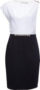 Julia Dress, Navy/Chalk - fit: tailored/fitted; style: asymmetric (top); sleeve style: asymmetric sleeve; waist detail: belted waist/tie at waist/drawstring; secondary colour: white; predominant colour: black; occasions: evening, occasion; length: just above the knee; fibres: silk - 100%; neckline: crew; bust detail: contrast pattern/fabric/detail at bust; shoulder detail: asymmetric shoulder detail/one shoulder; sleeve length: short sleeve; texture group: silky - light; pattern type: fabric; pattern size: standard; pattern: colourblock; embellishment: crystals