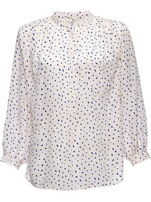 Venice Blouse, Multi - style: blouse; predominant colour: white; secondary colour: royal blue; occasions: casual, work; length: standard; neckline: collarstand; fibres: silk - 100%; fit: loose; sleeve length: 3/4 length; sleeve style: standard; texture group: silky - light; pattern type: fabric; pattern size: small & busy; pattern: patterned/print