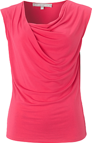 Ariela Top, Pink - neckline: cowl/draped neck; pattern: plain; sleeve style: sleeveless; bust detail: ruching/gathering/draping/layers/pintuck pleats at bust; predominant colour: coral; occasions: casual, evening, work, holiday; length: standard; style: top; fibres: polyester/polyamide - stretch; fit: body skimming; sleeve length: sleeveless; pattern type: fabric; texture group: jersey - stretchy/drapey