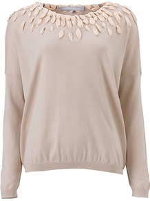 Dixie Jumper, Pink - neckline: round neck; pattern: plain; bust detail: added detail/embellishment at bust; style: standard; predominant colour: stone; occasions: casual, evening, work; length: standard; fibres: cotton - mix; fit: standard fit; shoulder detail: added shoulder detail; sleeve length: long sleeve; sleeve style: standard; pattern type: knitted - other; texture group: jersey - stretchy/drapey
