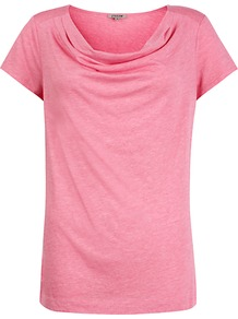 Modal Cotton Cowl T Shirt, Pink - neckline: cowl/draped neck; pattern: plain; style: t-shirt; bust detail: ruching/gathering/draping/layers/pintuck pleats at bust; predominant colour: pink; occasions: casual, holiday; length: standard; fibres: cotton - mix; fit: straight cut; sleeve length: short sleeve; sleeve style: standard; pattern type: fabric; texture group: jersey - stretchy/drapey