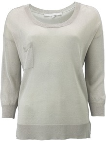 Dawn Jumper, Silver - neckline: round neck; pattern: plain; style: standard; predominant colour: silver; occasions: casual, work; length: standard; fibres: polyester/polyamide - mix; fit: standard fit; sleeve length: 3/4 length; sleeve style: standard; pattern type: fabric; texture group: jersey - stretchy/drapey
