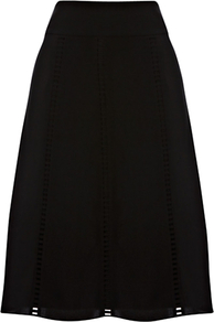 Albertina Flared Skirt, Black - pattern: plain; fit: loose/voluminous; waist detail: wide waistband/cummerbund; waist: mid/regular rise; predominant colour: black; occasions: evening, work; length: on the knee; style: a-line; fibres: polyester/polyamide - 100%; texture group: crepes; pattern type: fabric