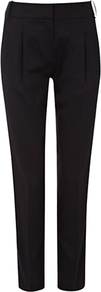 Brooke Trousers, Black - pattern: plain; style: peg leg; waist: mid/regular rise; predominant colour: black; occasions: evening, work; length: ankle length; fibres: cotton - stretch; fit: tapered; pattern type: fabric; texture group: woven light midweight