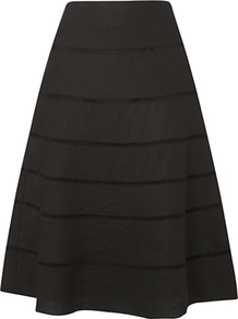 Conway Skirt, Black - length: below the knee; pattern: plain; fit: loose/voluminous; waist: mid/regular rise; predominant colour: black; occasions: casual, evening, work, holiday; style: a-line; fibres: linen - 100%; texture group: linen; pattern type: fabric; pattern size: standard