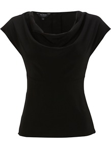 Leila Top - neckline: cowl/draped neck; sleeve style: capped; pattern: plain; bust detail: ruching/gathering/draping/layers/pintuck pleats at bust; predominant colour: black; occasions: evening, work; length: standard; style: top; fibres: silk - 100%; fit: body skimming; sleeve length: short sleeve; texture group: silky - light; pattern type: fabric