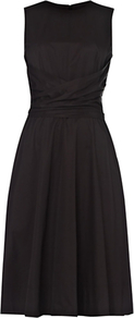 Twitchill Dress, Black - pattern: plain; sleeve style: sleeveless; style: full skirt; waist detail: fitted waist; predominant colour: black; occasions: evening, occasion; length: on the knee; fit: fitted at waist & bust; fibres: cotton - mix; neckline: crew; sleeve length: sleeveless; texture group: cotton feel fabrics