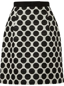 Harriet Skirt, Black/Ivory - length: mid thigh; style: straight; fit: tailored/fitted; waist: high rise; pattern: polka dot; secondary colour: ivory; predominant colour: black; occasions: evening, work; fibres: polyester/polyamide - mix; waist detail: narrow waistband; texture group: structured shiny - satin/tafetta/silk etc.; pattern type: fabric; pattern size: small & busy