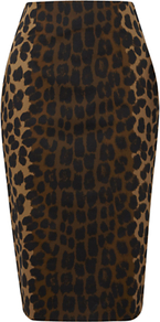 Hobbs Adeline Skirt, Black Multi - style: pencil; fit: body skimming; waist: high rise; secondary colour: tan; predominant colour: black; occasions: evening, work; length: on the knee; fibres: cotton - stretch; texture group: cotton feel fabrics; pattern type: fabric; pattern size: standard; pattern: animal print