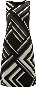 Bankside Dress, Multi - style: shift; fit: tailored/fitted; sleeve style: sleeveless; secondary colour: stone; predominant colour: black; occasions: evening, occasion; length: just above the knee; fibres: cotton - stretch; neckline: crew; sleeve length: sleeveless; texture group: cotton feel fabrics; pattern type: fabric; pattern size: standard; pattern: patterned/print