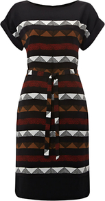 Georgina Dress, Black Multi - style: shift; waist detail: belted waist/tie at waist/drawstring; secondary colour: burgundy; predominant colour: black; occasions: casual, work; length: just above the knee; fit: body skimming; fibres: viscose/rayon - 100%; neckline: crew; sleeve length: short sleeve; sleeve style: standard; texture group: knits/crochet; pattern type: knitted - other; pattern size: standard; pattern: patterned/print