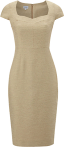 Ines Dress, Champagne - style: shift; sleeve style: capped; fit: tailored/fitted; pattern: plain; neckline: sweetheart; predominant colour: champagne; occasions: evening, work, occasion; length: on the knee; fibres: cotton - mix; sleeve length: short sleeve; trends: glamorous day shifts; pattern type: fabric; texture group: other - light to midweight