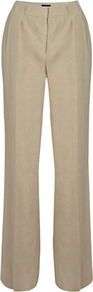 Naomi Trousers, Natural - pattern: plain; length: extra long; waist: mid/regular rise; predominant colour: stone; occasions: casual, work; fibres: linen - 100%; texture group: linen; fit: flares; pattern type: fabric; style: standard