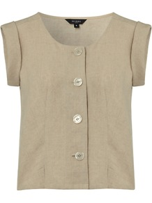 Sandown Top, Natural - sleeve style: capped; pattern: plain; bust detail: buttons at bust (in middle at breastbone)/zip detail at bust; predominant colour: stone; occasions: casual; length: standard; style: top; neckline: scoop; fibres: linen - 100%; fit: body skimming; sleeve length: sleeveless; texture group: linen; pattern type: fabric