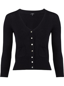 Ellie Cardigan, Navy - neckline: low v-neck; pattern: plain; bust detail: buttons at bust (in middle at breastbone)/zip detail at bust; predominant colour: black; occasions: casual, evening, work; length: standard; style: standard; fibres: silk - mix; fit: slim fit; waist detail: front pockets at waist level; sleeve length: 3/4 length; sleeve style: standard; texture group: knits/crochet; pattern type: knitted - fine stitch