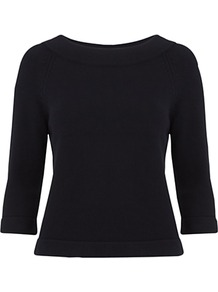 Isabel Jumper, Navy - neckline: slash/boat neckline; pattern: plain; style: standard; predominant colour: navy; occasions: casual, work; length: standard; fibres: cotton - 100%; fit: slim fit; sleeve length: 3/4 length; sleeve style: standard; texture group: knits/crochet; pattern type: knitted - other