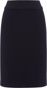 Olivia Skirt, Navy - pattern: plain; style: pencil; waist: mid/regular rise; predominant colour: navy; occasions: evening, work; length: just above the knee; fibres: polyester/polyamide - stretch; fit: straight cut; pattern type: fabric; texture group: woven light midweight