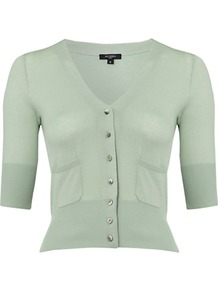 Florence Cardigan, Mint - neckline: v-neck; pattern: plain; length: cropped; bust detail: buttons at bust (in middle at breastbone)/zip detail at bust; predominant colour: pistachio; occasions: casual, work; style: standard; fibres: cotton - 100%; fit: slim fit; sleeve length: half sleeve; sleeve style: standard; texture group: knits/crochet; pattern type: knitted - fine stitch