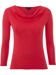 Whitstable Cowl Neck Top, Ruby - neckline: cowl/draped neck; pattern: plain; predominant colour: true red; occasions: casual, work; length: standard; style: top; fibres: cotton - 100%; fit: body skimming; sleeve length: 3/4 length; sleeve style: standard; pattern type: fabric; texture group: jersey - stretchy/drapey
