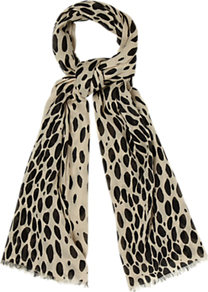 Animal Scarf, Ivory/Black - predominant colour: stone; secondary colour: black; occasions: casual, evening, work; type of pattern: standard; style: regular; size: standard; material: fabric; pattern: animal print