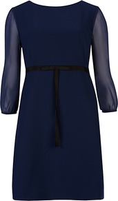 Tie Waist Dress, Navy - style: shift; length: mid thigh; fit: empire; pattern: plain; waist detail: belted waist/tie at waist/drawstring; predominant colour: navy; occasions: evening, occasion; fibres: polyester/polyamide - stretch; neckline: crew; sleeve length: long sleeve; sleeve style: standard; texture group: sheer fabrics/chiffon/organza etc.; pattern type: fabric