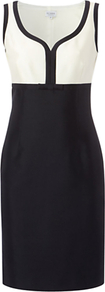 Fortuna Dress, Navy - style: shift; neckline: v-neck; fit: tailored/fitted; sleeve style: sleeveless; waist detail: fitted waist; secondary colour: white; predominant colour: navy; occasions: evening, work, occasion; length: just above the knee; fibres: wool - mix; bust detail: contrast pattern/fabric/detail at bust; sleeve length: sleeveless; trends: glamorous day shifts; pattern type: fabric; pattern size: standard; pattern: colourblock; texture group: other - light to midweight