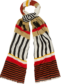 Tribal Scarf, Buter Multi - predominant colour: true red; secondary colour: black; occasions: casual, work; type of pattern: large; style: regular; size: large; material: fabric; pattern: patterned/print