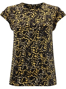 Katie Silk Top, Butter Multi - sleeve style: capped; secondary colour: yellow; predominant colour: black; occasions: casual, evening; length: standard; style: top; fibres: silk - 100%; fit: body skimming; neckline: crew; sleeve length: short sleeve; texture group: silky - light; pattern type: fabric; pattern size: small &amp; busy; pattern: patterned/print