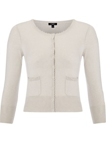 Alexandra Cardigan - neckline: round neck; pattern: plain; length: cropped; bust detail: buttons at bust (in middle at breastbone)/zip detail at bust; predominant colour: stone; occasions: casual, evening; style: standard; fibres: silk - mix; fit: slim fit; sleeve length: 3/4 length; sleeve style: standard; texture group: knits/crochet; pattern type: knitted - fine stitch