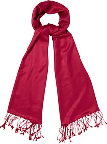 Celeste Scarf, Rose - predominant colour: hot pink; occasions: casual, evening, work, occasion, holiday; type of pattern: standard; style: regular; size: standard; material: fabric; embellishment: tassels; pattern: plain