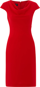 Alexandra Dress, Ruby - style: shift; neckline: cowl/draped neck; sleeve style: capped; fit: tailored/fitted; pattern: plain; bust detail: ruching/gathering/draping/layers/pintuck pleats at bust; predominant colour: true red; occasions: evening, work; length: just above the knee; fibres: polyester/polyamide - mix; sleeve length: short sleeve; pattern type: fabric; texture group: jersey - stretchy/drapey