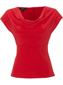 Leila Top, Ruby - neckline: cowl/draped neck; sleeve style: capped; pattern: plain; waist detail: wide waistband/cummerbund; bust detail: ruching/gathering/draping/layers/pintuck pleats at bust; predominant colour: true red; occasions: evening; length: standard; style: top; fibres: silk - 100%; fit: body skimming; sleeve length: short sleeve; texture group: silky - light; pattern type: fabric