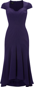 Bellini Dress, Amethystine - length: below the knee; sleeve style: capped; pattern: plain; neckline: sweetheart; predominant colour: aubergine; fit: body skimming; style: asymmetric (hem); fibres: polyester/polyamide - mix; occasions: occasion; sleeve length: sleeveless; texture group: crepes; pattern type: fabric