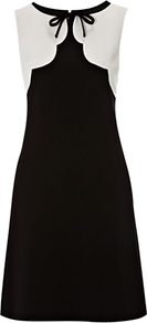 Bluebell Dress, Black/New Pebble - style: shift; sleeve style: sleeveless; neckline: pussy bow; secondary colour: white; predominant colour: black; occasions: evening, work; length: just above the knee; fit: soft a-line; fibres: polyester/polyamide - mix; bust detail: contrast pattern/fabric/detail at bust; sleeve length: sleeveless; texture group: crepes; pattern type: fabric; pattern size: standard; pattern: colourblock