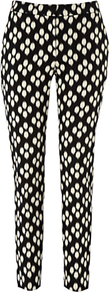 Victoria Trousers, Black/New Pebble - waist: mid/regular rise; secondary colour: white; predominant colour: black; occasions: casual, evening, occasion; length: ankle length; fibres: cotton - stretch; fit: skinny/tight leg; pattern type: fabric; pattern size: standard; pattern: patterned/print; texture group: woven light midweight; style: standard