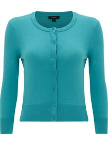 Middleton Cardigan, Peacock - neckline: round neck; pattern: plain; bust detail: buttons at bust (in middle at breastbone)/zip detail at bust; predominant colour: turquoise; occasions: casual; length: standard; style: standard; fibres: cotton - 100%; fit: slim fit; sleeve length: 3/4 length; sleeve style: standard; texture group: knits/crochet; pattern type: knitted - other