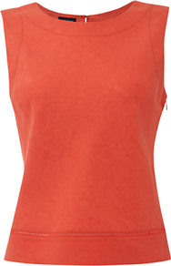 Chatham Top, Lava - pattern: plain; sleeve style: sleeveless; predominant colour: bright orange; occasions: casual; length: standard; style: top; fibres: linen - 100%; fit: body skimming; neckline: crew; sleeve length: sleeveless; texture group: linen; pattern type: fabric