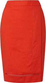 Forsyth Skirt, Lava - pattern: plain; style: pencil; fit: tailored/fitted; waist: high rise; predominant colour: bright orange; occasions: evening, work, occasion, holiday; length: just above the knee; fibres: linen - 100%; texture group: linen; pattern type: fabric