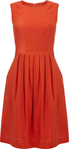 Hay Dress, Lava - pattern: plain; sleeve style: sleeveless; waist detail: fitted waist; predominant colour: terracotta; occasions: evening, work, occasion; length: just above the knee; fit: fitted at waist & bust; style: fit & flare; fibres: linen - 100%; neckline: crew; hip detail: structured pleats at hip; sleeve length: sleeveless; texture group: linen; pattern type: fabric